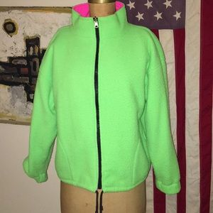 Vintage 1980's Reversible Neon Fleece Ski Jacket
